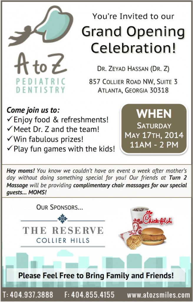 Good Join Us For Our GRAND OPENING CELEBRATION On Saturday, May 17th From 11 2!    Pediatric Dentist Atlanta Midtown Buckhead | A To Z Pediatric Dentistry |  Dr. ...